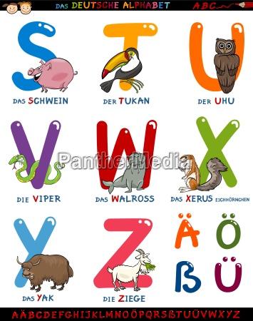 cartoon deutsch alphabet mit tieren