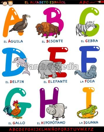 karikatur spanisches alphabet mit tieren