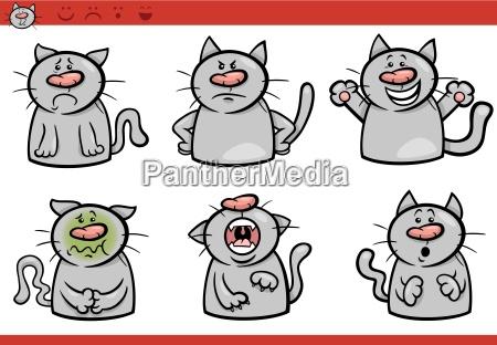 katze emotionen cartoon illustration set
