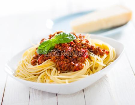 gesunde platte des italienischen spaghetti