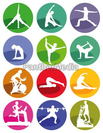 gymnastik und fitness figuren auf einem