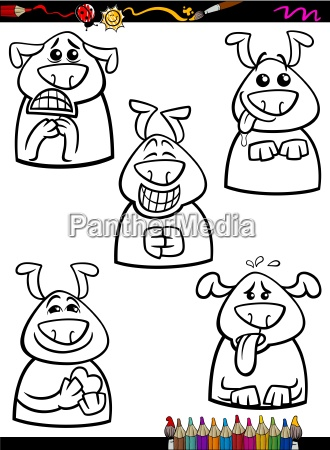 dog emotion set cartoon coloring book
