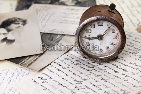 old clock and letters