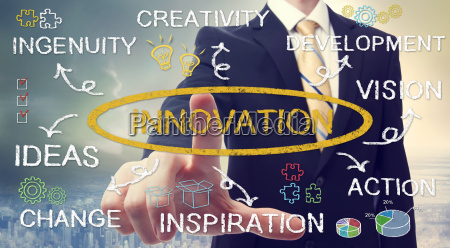 geschaeftsmann mit business innovation konzept