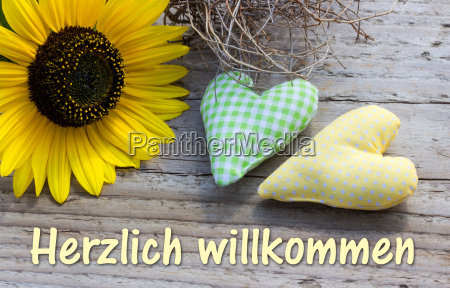 text lettering german welcome sunflower heart