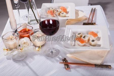 oriented food on decorated table