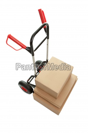 trolley with cardboard boxes on white