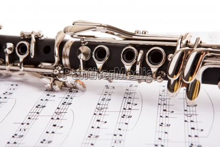 close up of clarinet and musical