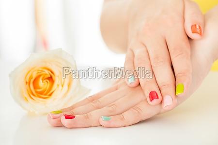 female hand on flower