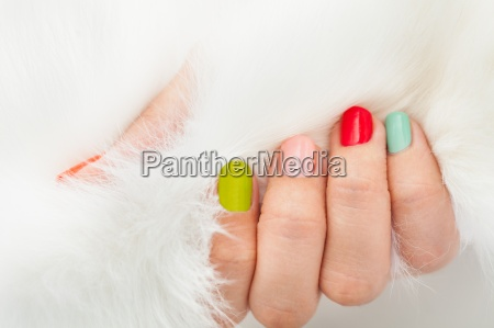 womans hand holding fur