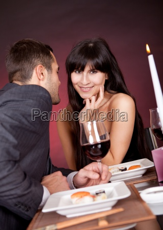 young couple having romantic conversation