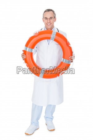 happy male doctor holding rescue ring