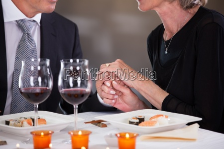 affectionate couple in restaurant