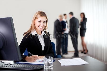 closeup portrait of elegant young business