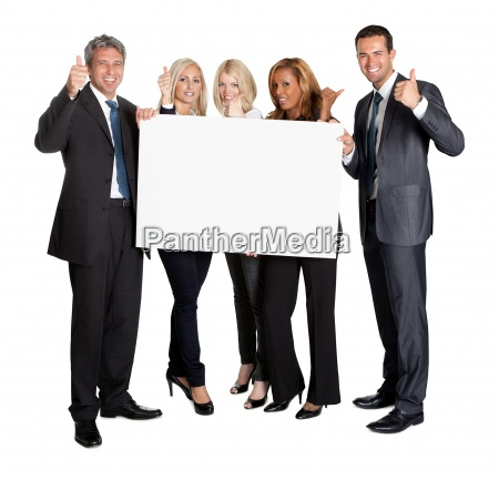 business people with thumbs up holding
