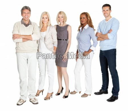 business group standing confidently on white