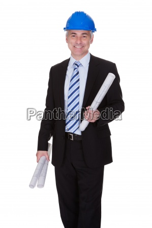 portrait of happy mature architect