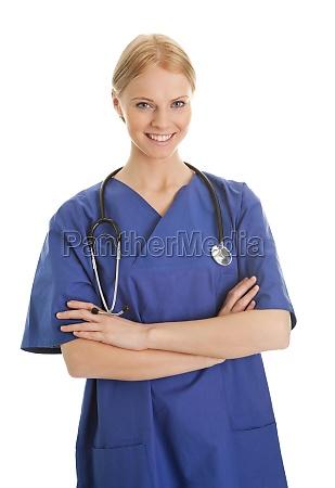 laechelnde krankenschwester frau mit stethoskop