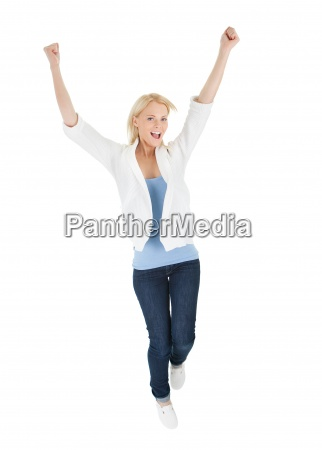 portrait of beautiful excited young woman