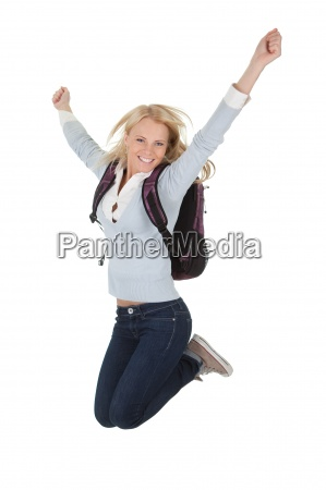 portrait of excited student girl