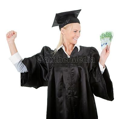 weibliche studentin haelt geld