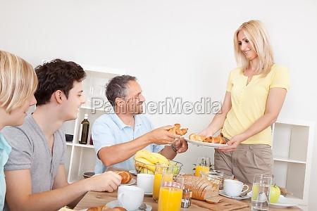 family served croissants for breakfast