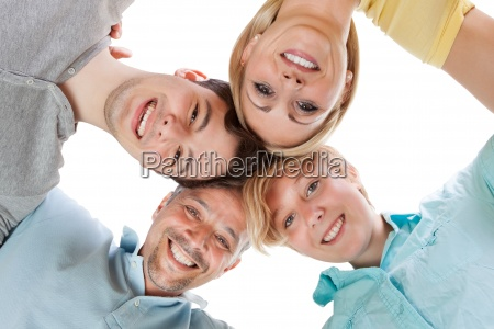 happy family looking down