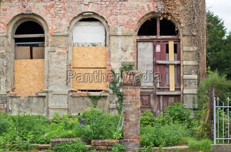 old derelict dilapidated ramshackle tumbledown door