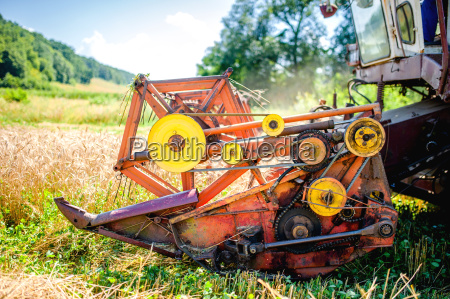 detail of harvester machinery tractor at