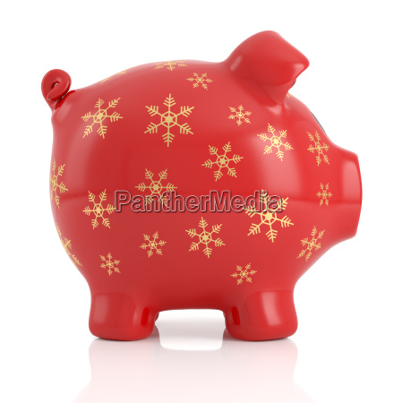 red christmas piggy bank on white