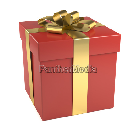 red gift box with gold ribbon