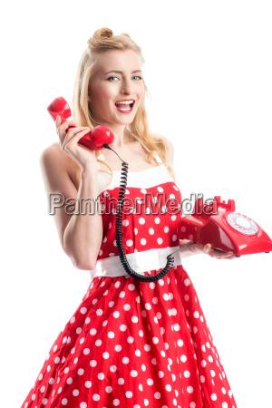 pin, up, girl, telefoniert, - 12463922