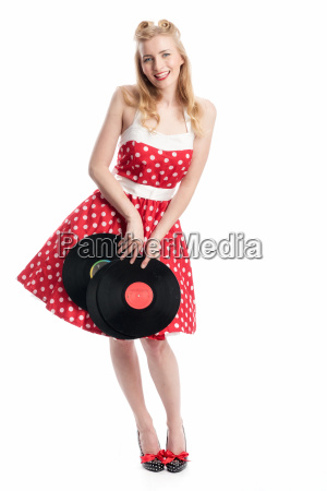 woman with vinyl records