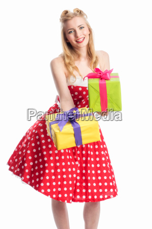 pin up girl with gifts