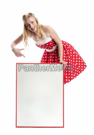 pin up girl with poster