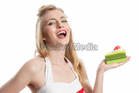 young woman holds a piece of