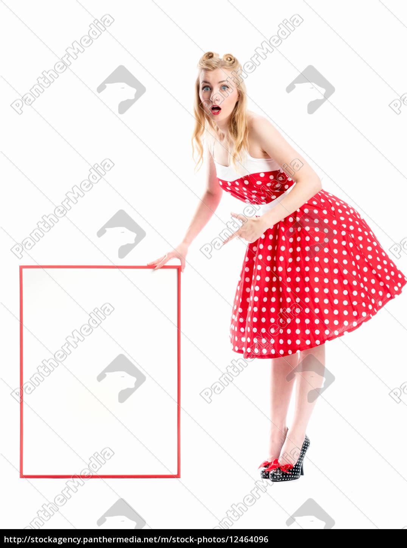 eine, frau, im, rockabilly, style, hält - 12464096