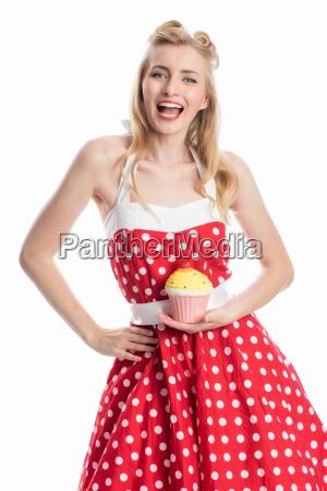 junge, frau, mit, cupcake, - 12464098