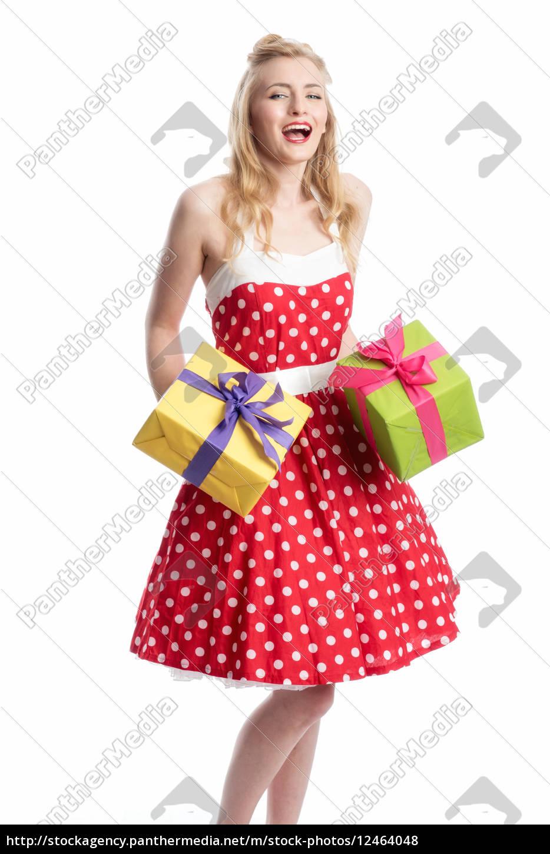 pin, up, girl, mit, geschenke, - 12464048