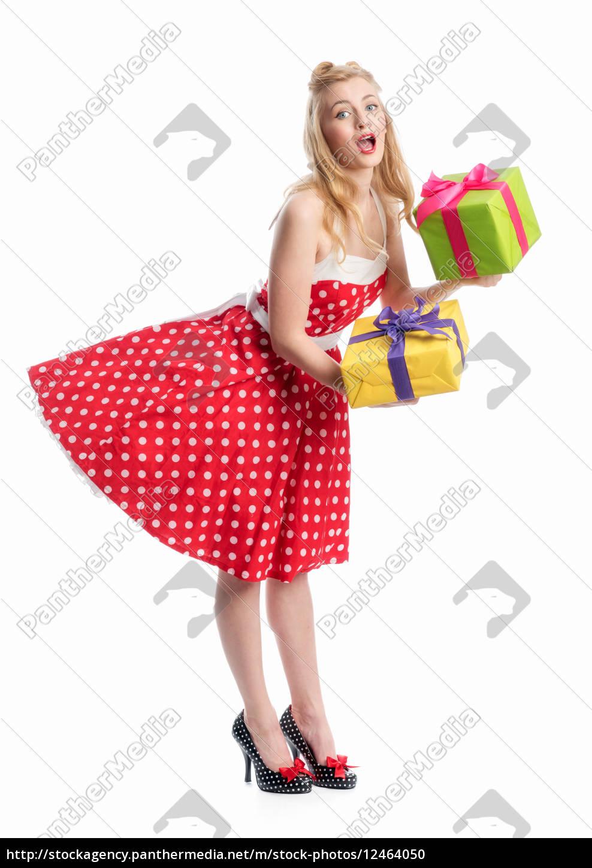 pin, up, girl, mit, geschenke - 12464050
