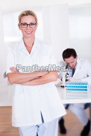 lab technicians at work in a