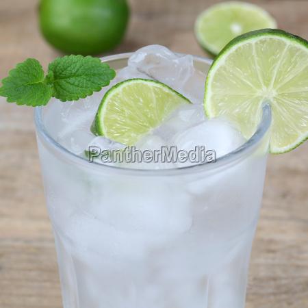 wasser oder mineralwasser getraenk mit eiswuerfeln