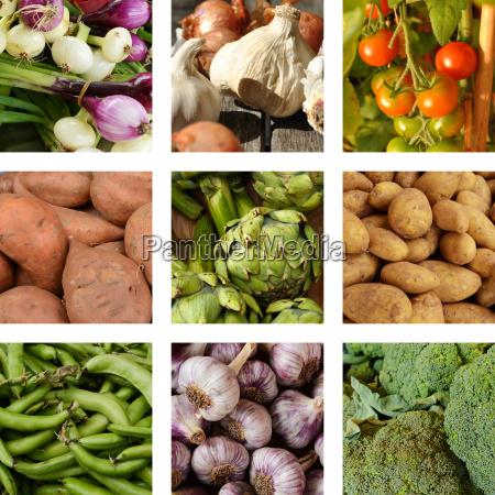 nine images of vegetables