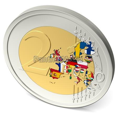 zwei euro muenze bunt mit flaggen