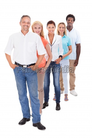 group of multi ethnic people standing