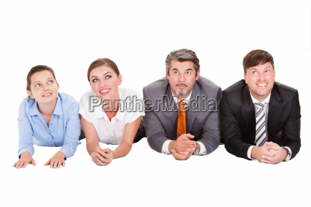 businesspeople lying on front