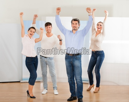 group of excited people