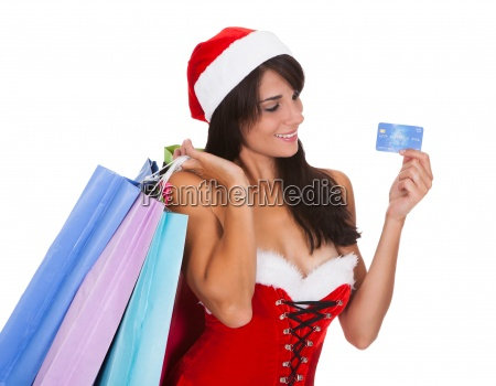 woman with shopping bags and credit