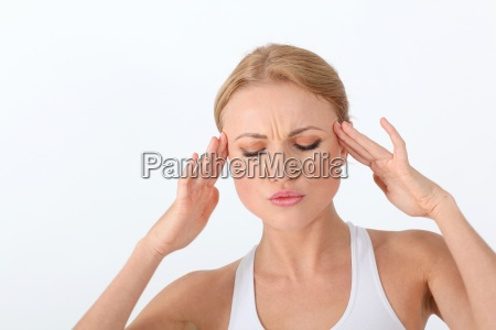portrait of woman having a headache