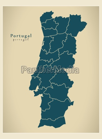moderne landkarte portugal districts pt